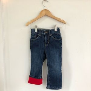🥄LIKE NEW- Micro-Fleece-Lined Straight Baby Jeans